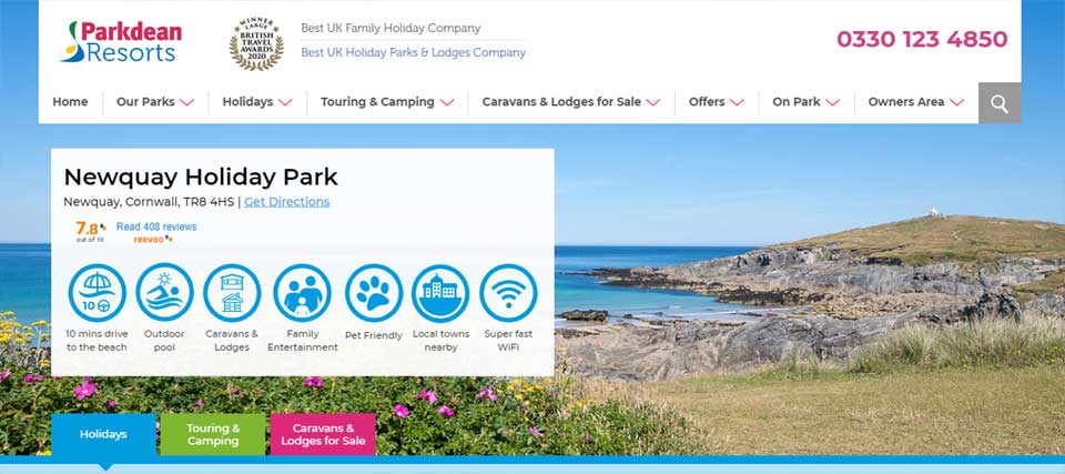 parkdean newquay holiday park website